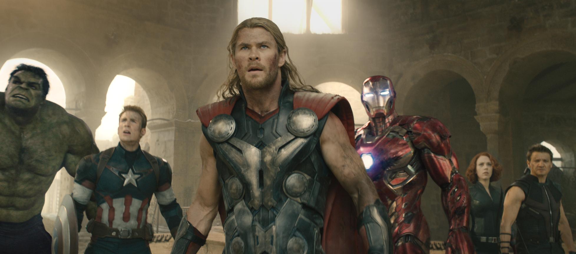 """(L-r) Mark Ruffalo, Chris Evans, Chris Hemsworth, Robert Downey Jr., Scarlett Johansson and Jeremy Renner star in """"Avengers: Age of Ultron"""""""