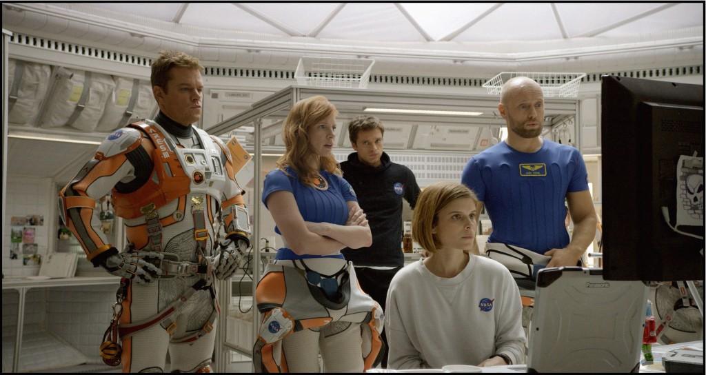 (L-r) Matt Damon, Jessica Chastain, Sebastian Stan, Kate Mara, and Aksel Hennie star in 20th Century Fox's THE MARTIAN