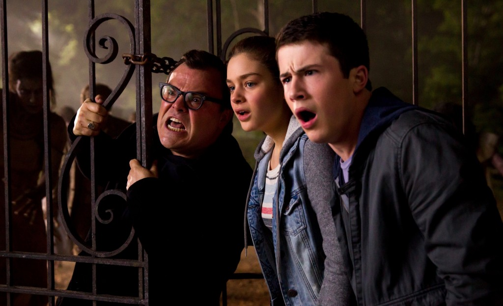 (L-r) Jack Black, Odeya Rush and Dylan Minette star in Columbia Pictures' GOOSEBUMPS