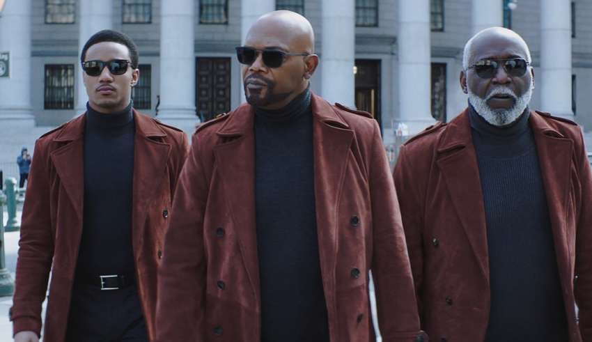 (L-r) Jessie T. Usher, Samuel L. Jackson, Richard Roundtree star in Warner Bros. Pictures' SHAFT