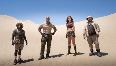 (L-R) Kevin Hart, Dwayne Johnson, Karen Gillan and Jack Black in Sony Pictures' JUMANJI: THE NEXT LEVEL