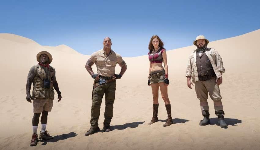 (L-R) Kevin Hart, Dwayne Johnson, Karen Gillan and Jack Black in Sony Pictures' JUMANJI: THE NEXT LEVEL