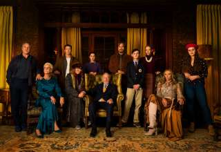 (L-R) Don Johnson, Jamie Lee Curtis, Chris Evans, K Callan, Ana de Armas, Christopher Plummer, Michael Shannon, Jaeden Lieberher, Riki Lindholm, Toni Collette and Kathering Langford star in Lionsgate Films' KNIVES OUT
